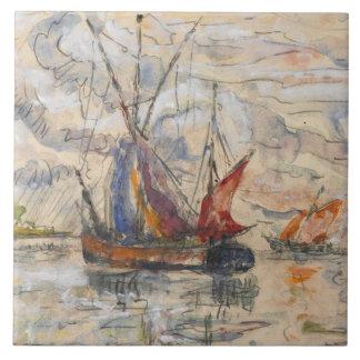 Fishing Boats in La Rochelle, c.1919-21 Ceramic Tile