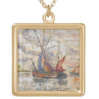 Fishing Boats in La Rochelle, c.1919-21 Square Pendant Necklace