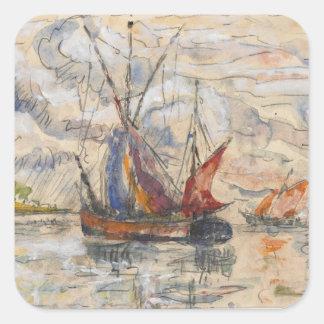 Fishing Boats in La Rochelle, c.1919-21 Square Sticker