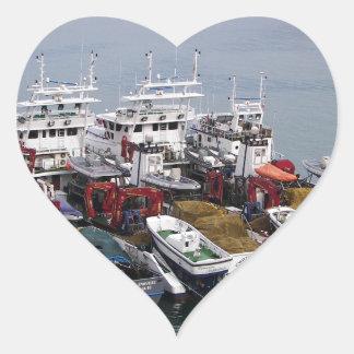 Fishing Boats In Valletta Heart Sticker