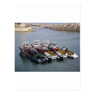 Fishing Boats In Valletta Postcard