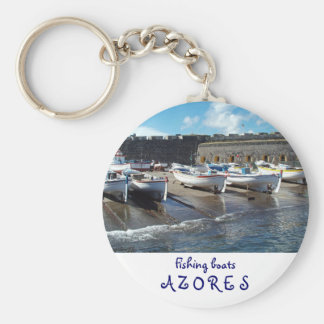Fishing boats basic round button keychain