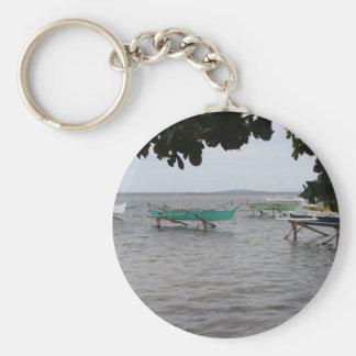 Fishing boats basic round button keychain