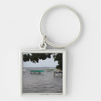 Fishing boats Silver-Colored square keychain