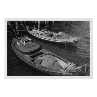 Fishing Boats, Lower Columbia River Oregon Vintage Poster