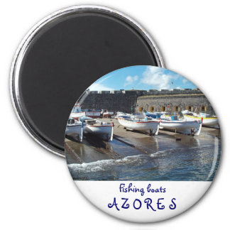 Fishing boats 2 inch round magnet