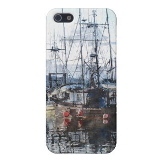 Fishing Boats Marina Watercolour Art iPhone Case iPhone 5 Covers