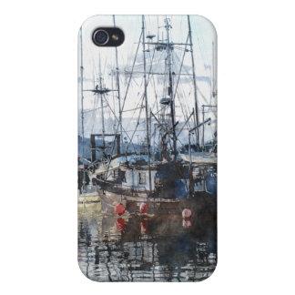 Fishing Boats Marina Watercolour Art iPhone Case iPhone 4 Covers