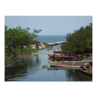 Fishing Boats Mouth of Negril River Jamaica. Large Poster