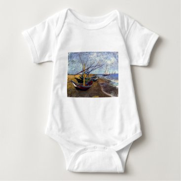 Beach Themed Fishing Boats on Beach Baby Bodysuit