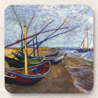 Fishing Boats on Beach Beverage Coaster