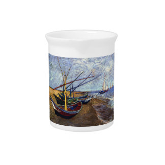 Fishing Boats on Beach Drink Pitcher