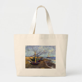 Fishing Boats on Beach Large Tote Bag