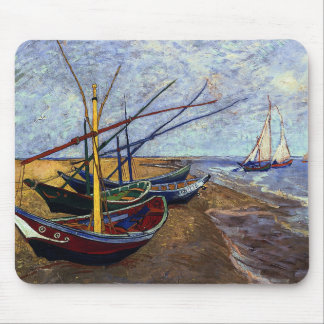 Fishing Boats on Beach Mouse Pad