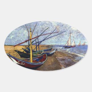 Fishing Boats on Beach Oval Sticker