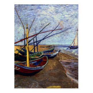Fishing Boats on Beach Postcard