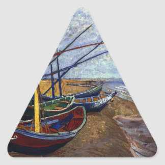 Fishing Boats on Beach Triangle Sticker