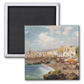 Fishing Boats on the Beach at Marinella, Naples (o 2 Inch Square Magnet