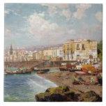 Fishing Boats on the Beach at Marinella, Naples (o Ceramic Tile
