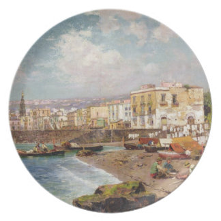 Fishing Boats on the Beach at Marinella, Naples (o Party Plate
