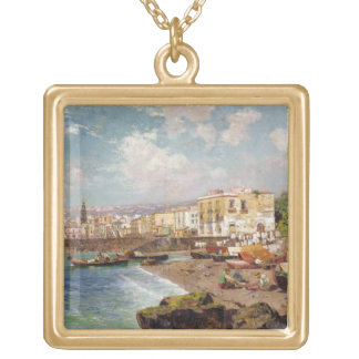 Fishing Boats on the Beach at Marinella, Naples (o Square Pendant Necklace