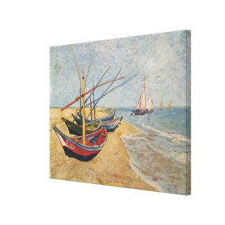 Fishing Boats on the Beach at Saintes-Maries, 1888 Canvas Print
