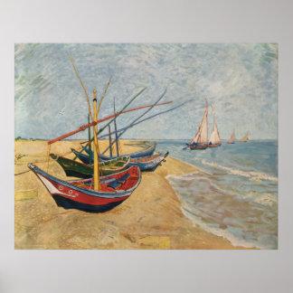 Fishing Boats on the Beach at Saintes-Maries, 1888 Poster