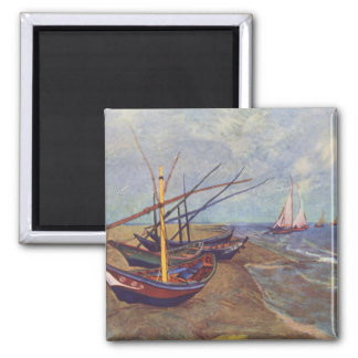 Fishing Boats on the Beach at Saintes-Maries 2 Inch Square Magnet