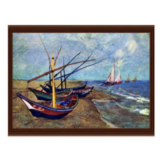 Fishing Boats On The Beach At Saintes-Maries Fish Postcard
