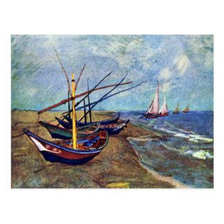 Fishing Boats On The Beach At Saintes-Maries Fish Post Card