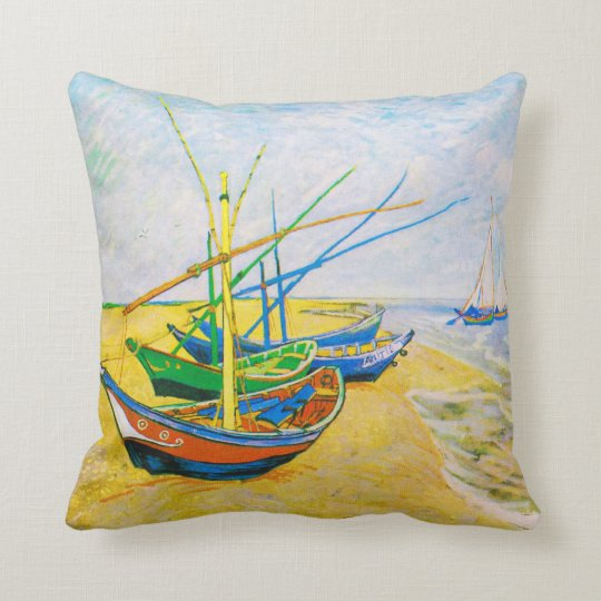 Fishing Boats on the Beach at Saintes-Maries Throw Pillow