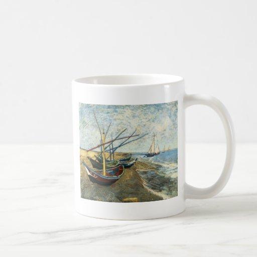 Fishing Boats on the Beach at Saints-Maries Classic White Coffee Mug