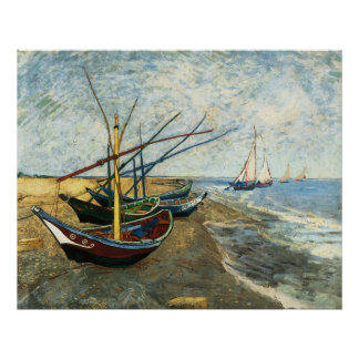 Fishing Boats on the Beach at Saints-Maries Poster