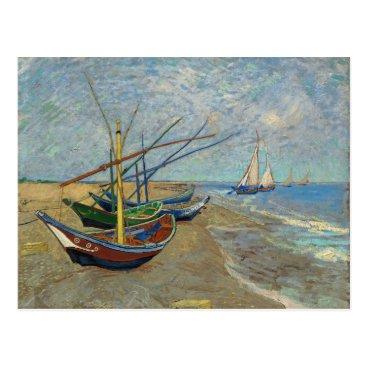 Beach Themed Fishing Boats on the Beach by Van Gogh Postcard