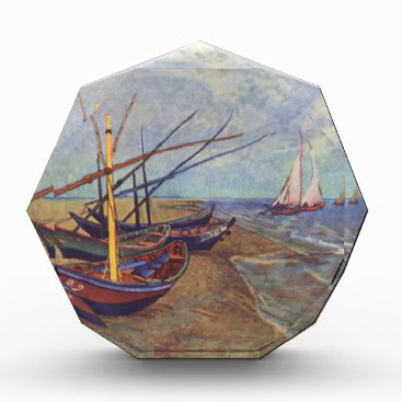 Beach Themed Fishing Boats on the Beach by Vincent Van Gogh Acrylic Award