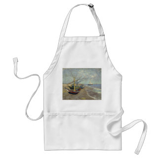Fishing Boats on the Beach by Vincent Van Gogh Adult Apron