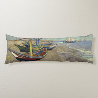 Fishing Boats on the Beach by Vincent Van Gogh Body Pillow
