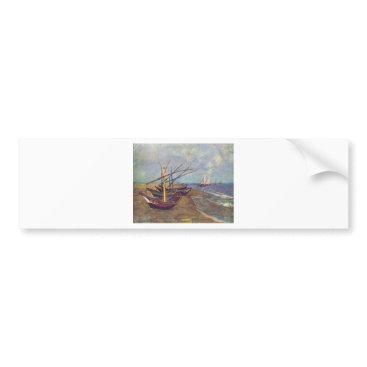 Beach Themed Fishing Boats on the Beach by Vincent Van Gogh Bumper Sticker