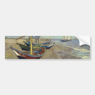 Fishing Boats on the Beach by Vincent Van Gogh Bumper Sticker