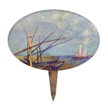 Beach Themed Fishing Boats on the Beach by Vincent Van Gogh Cake Topper