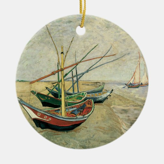 Fishing Boats on the Beach by Vincent van Gogh Ceramic Ornament