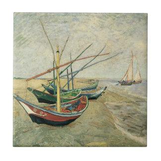 Fishing Boats on the Beach by Vincent van Gogh Ceramic Tile
