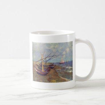 Beach Themed Fishing Boats on the Beach by Vincent Van Gogh Coffee Mug
