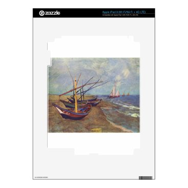 Beach Themed Fishing Boats on the Beach by Vincent Van Gogh Decal For iPad 3