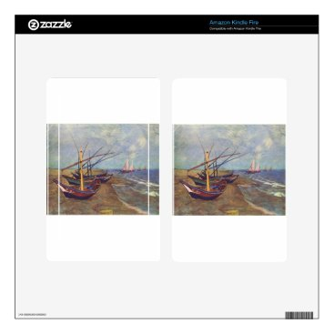 Beach Themed Fishing Boats on the Beach by Vincent Van Gogh Decal For Kindle Fire