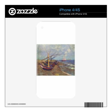 Beach Themed Fishing Boats on the Beach by Vincent Van Gogh Decals For iPhone 4S