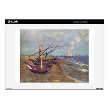 Beach Themed Fishing Boats on the Beach by Vincent Van Gogh Decals For Laptops