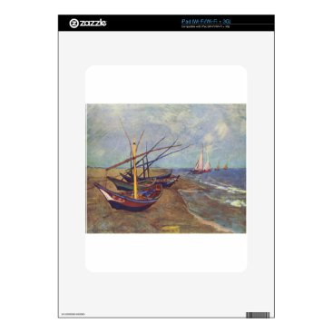 Beach Themed Fishing Boats on the Beach by Vincent Van Gogh Decals For The iPad