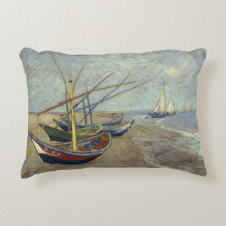 Fishing Boats on the Beach by Vincent Van Gogh Decorative Pillow