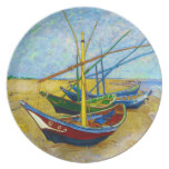 Fishing Boats on the Beach by Vincent Van Gogh Dinner Plate
